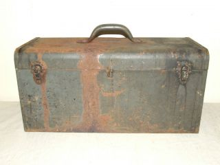Vintage Metal Tool Box Chest w/Tray Storage Box  20  PRICE INCLUDES