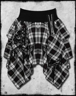 HELL BUNNY WHITE BLACK TARTAN PLAID GOTH PUNK CHAIN CORSET ZIP UNEVEN