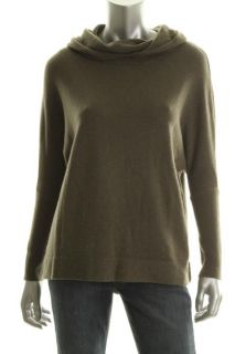 525 America New Green Cashmere Long Sleeve Cowl Neck Hooded Sweater