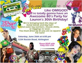 80s Theme Collage Personalized Birthday Party Invitations