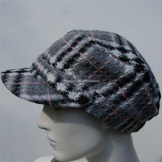 NWT D&Y David Young Womens Ladies Hat Cap Newsboy Cabbie Greys Plaid