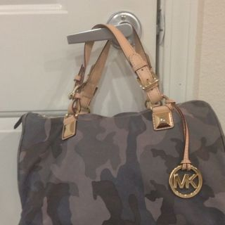 Michael Kors Large Camo Duffle Bag and Matching Wallet Blue