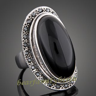 18k white gold GP black Swarovski crystal &agate big cocktail ring