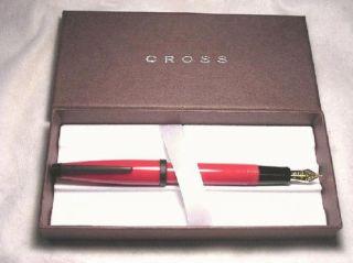 Cross Solo Red Black Fountain Pen Medium 23kt Gold Plate NIB