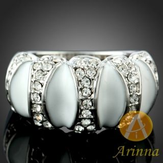 ARINNA Clear Band Finger Ring Ivory Sink White Gold Plated Swarovski
