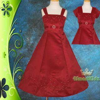 LIMITED OFFER Burgundy Wedding Flower Girl Bridesmaid Party Dress 2