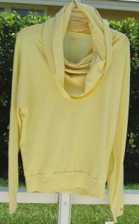 Fila Benessere Yellow Soft Stretch Loose Fit Hoody Blouse Shirt Top XS