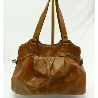 Patricia Nash Italian Tan Genuine Leather Napoli Shoulder Handbag $198