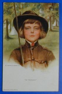 CHILDREN PHILIP BOILEAU GIRL BOY SCOUTS HAT POSTCARD QRC0093
