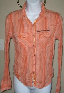 Womens Harley Davidson Orange Western Blouse Small