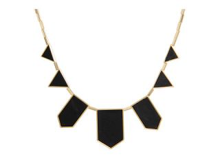 House of Harlow 1960 Plated Five Station Black Leather Necklace