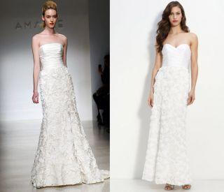 ABS by Allen Schwartz Strapless Rosette Wedding Gown Dress 2