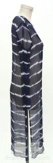 BCBG Max Azria Blue & White Tie Dye Print Silk Long Tunic Dress Size