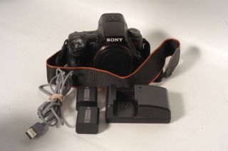 Sony A55 DSLR Camera Body Strap Charger 2 Batteries USB Cable Great