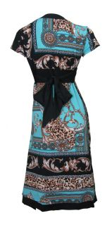 Blue & Black Border Print Stretch Day Dress Aaliyah Size 8 New