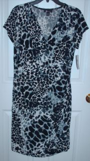 AB STUDIO WOMENS BLACK WHITE LEOPARD PRINT CRISSCROSS SS V NECK DRESS