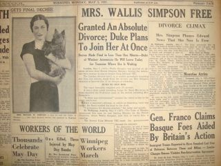 200604CR King Edward VIII Royal Wallis Simpson Divorced May 3 1937