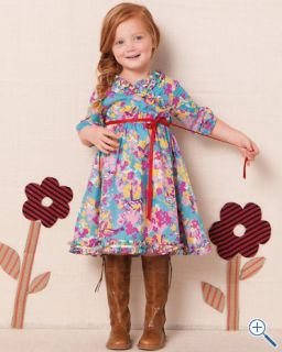 Garnet Hill Cotton Crossover Dress Birds NWT Girls 8
