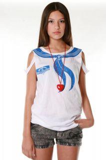 Abbey Dawn Avril Lavigne Skull Sailorette Top Tee T Shirt Tank