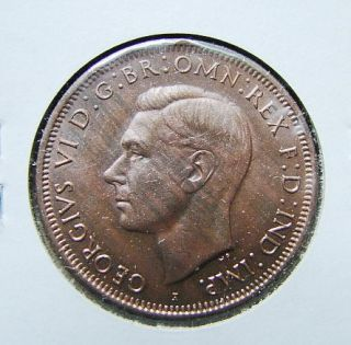 Australia 1942 I 1 Penny Bronze Coin King Georgivs VI