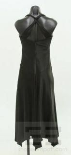 ABS Allen Schwartz Black Satin & Silk Trim Jeweled Buckle Detail Dress