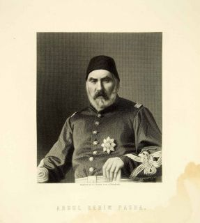 1878 Steel Engraving Abdul Kerim Pasha Ottoman Officer Russo Turkish