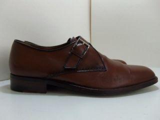 Testoni Cognac Brown Monk Strap Leather Mens Dress Loafer Shoes 8 5