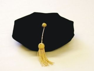 PhD Tam Black Velvet w Gold Bullion Tassel Academic Regalia