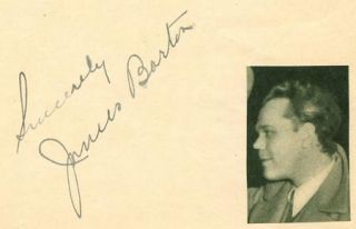 James Barton Vintage 1930s Original Signed Album Page Autographed