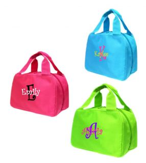 Personalized Lunch Tote Bag Girls School Lunchbox Free Monogram Pink