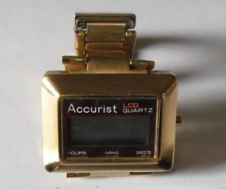 Vintage Gold Plated (?) Accurist LCD Watch   Spares or Repair   A102