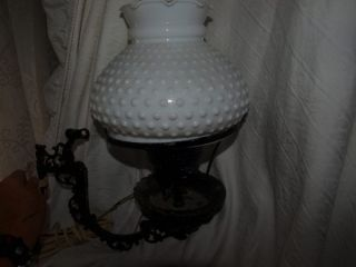 VINTAGE Cast Iron Electric Wall Mount Lamp Hob Nail Milk Glass