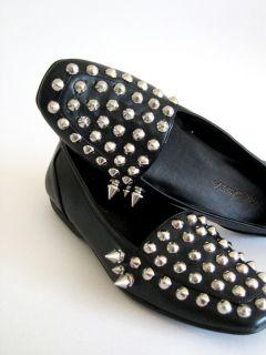 Avant Garde 80s Silver Spike Studded Black Faux Leather Loafer Slip On