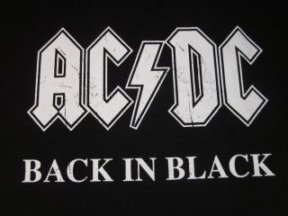 AC DC Back in Black T Shirt Classic Rock Tee New szL