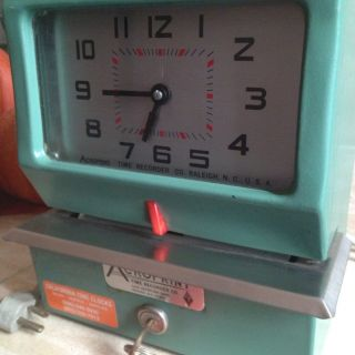 Acroprint Time Punch Clock With Key Working Vintage Green Heavy Duty