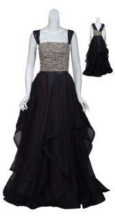 Reem Acra Dramatic Black Rhinestone Bustier Tiered Silk Gown Eve Dress