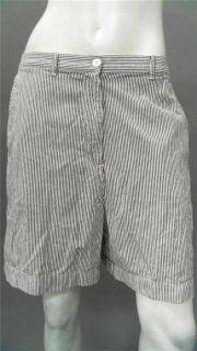 Karen Scott Misses 12 Walking Shorts White Blue Striped Designer