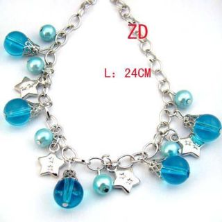 Blue Glass Pearl Beads Star Link Charm Bracelet Fashion Jewelry