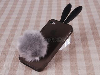 Lovely Cute Bunny Rabit Ear Silicon Gel Skin Cover Case for iPhone 4
