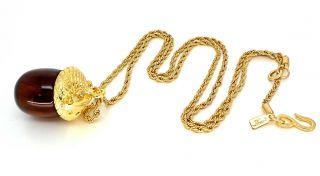 Kenneth Jay Lane Gold & Tortoise Acorn Pendant Necklace