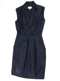 Adam Adam Lippes Womens Navy Shawl Collar Pleated Front Dress 8 $295