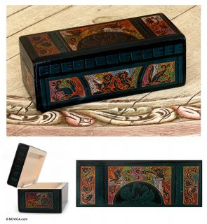 Lovebirds Mexican Olinala Art Wood Jewelry Box Novica