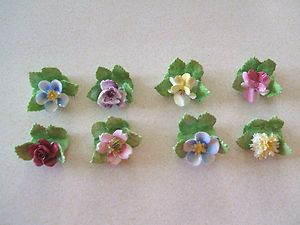 Eight Royal Adderley Bone China Floral Place Card Holders
