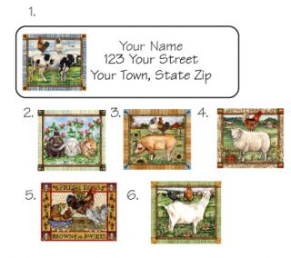 Personalized Farm Animal Scenes Address Labels Pig Cow