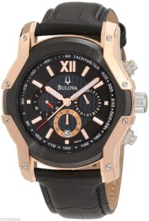 NEW BULOVA 98B158 MENS WINTERMOOR ROSE GOLD PLATED QUARTZ WATCH WITH