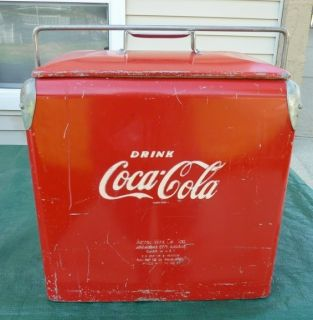 Vintage Acton Mfg Co Coca Cola Cooler with Tray Ice Pick Opener all