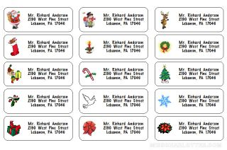 120 Personalized Christmas Return Address Labels