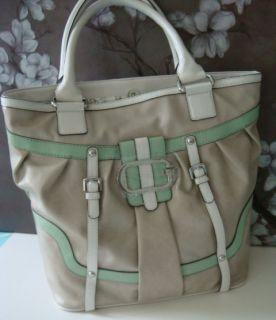 Guess Adelina Mint Green Beige Tote Satchel Shoulder Bag Handbag