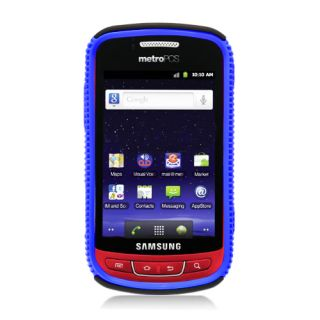 For Samsung Admire R720 Hybrid Gel Hard Case Blue Black