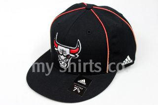 Bulls Black Red White Authentic NBA Adidas Fitted Cap Brand New